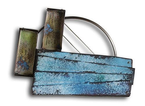 "Montserrat Lacomba Brooch: Mediterranean Sea, 2013 Oxidized nickel silver, enameled copper 70x95x5 mm From ""Impossible Landscapes"" Series"