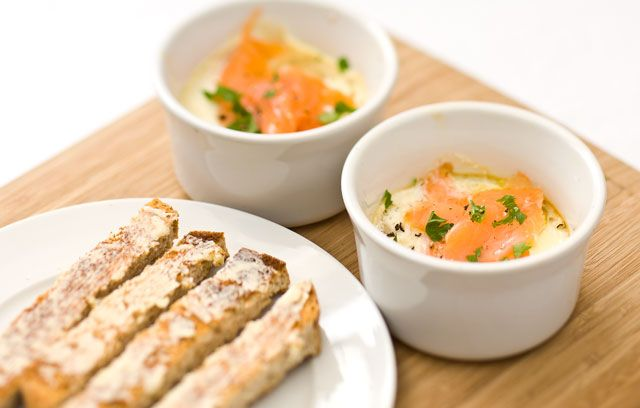 Eggs En Cocotte With Smoked Salmon And Tarragon. A lovely little ...