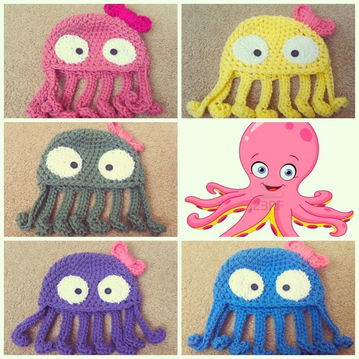 Crochet Octopus Hat : Crochet Octopus Beanie/Hat by Potterfreakg on Etsy, $15.00