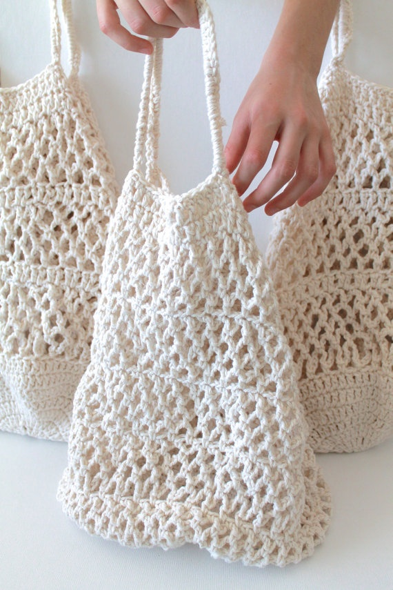 Crochet Market Tote Bag Organic Cotton SIMPLE by creativecarmelina, $ ...