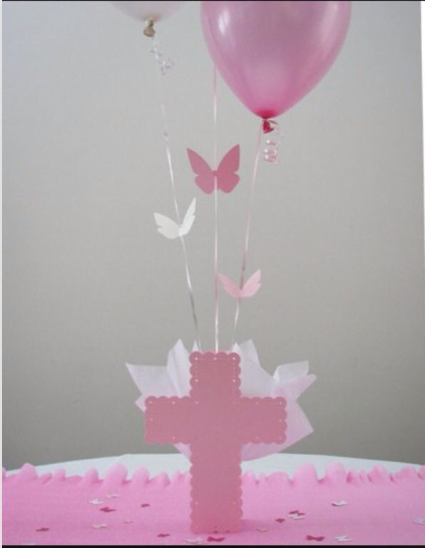 Baptism cross with balloons centerpiece party ideas