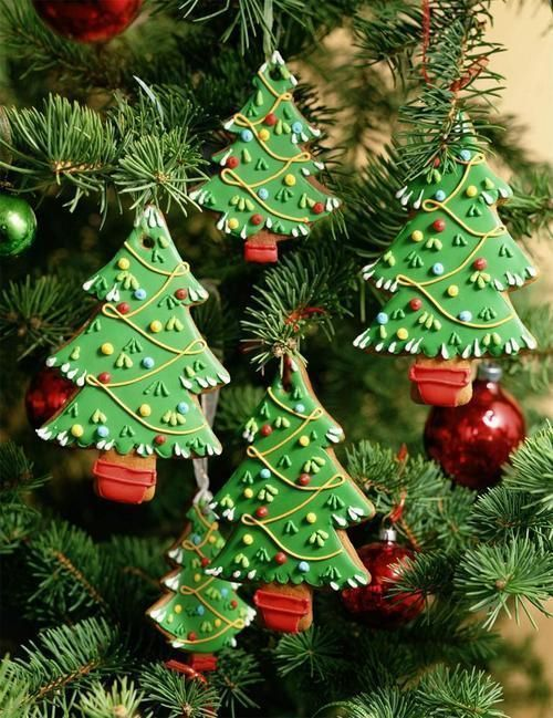 Decorating Ideas For Christmas Tree Cookies : Christmas trees decorated cookies