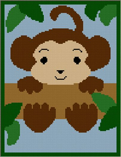 Crochet Jungle Afghan Pattern : Baby Monkey in Jungle Hanging in Tree Afghan Crochet ...