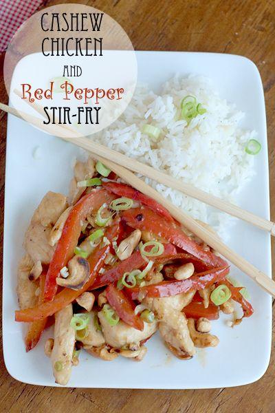 Cashew Chicken and Red Pepper Stir Fry from @NevrEnoughThyme #chicken #stirfry #weeknight #familydinner