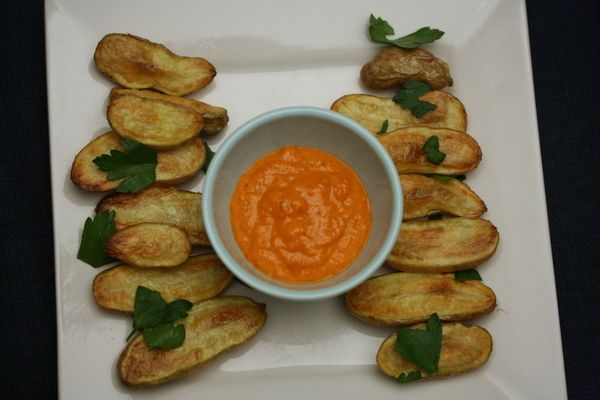 Roasted Baby Potatoes With Romesco Sauce Recipe — Dishmaps
