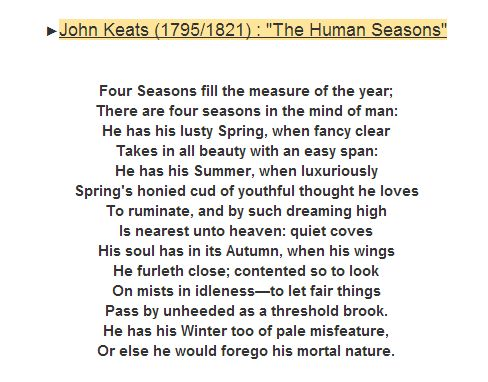 the human seasons by john keats essay Check out our top free essays on about john keats to help you fashion is certainly descriptive of john keats poem the human seasons john keats essay.