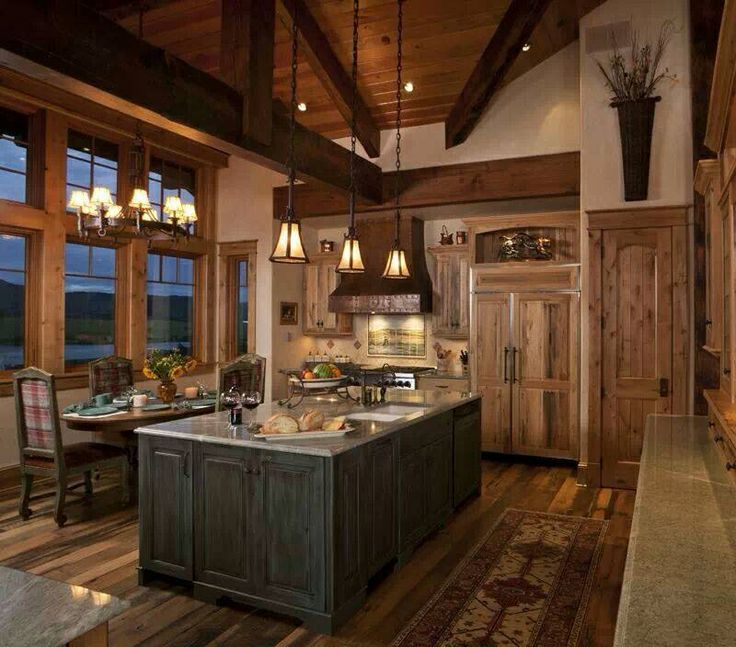Lovely cabin kitchen kitchen ideas pinterest for Cabin style kitchen cabinets