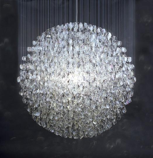 Stuart Haygarth's chandelier created  from over 4500 prescription spectacle lenses.