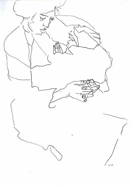 Contour Line Drawings Famous : Schiele contour drawing pinterest
