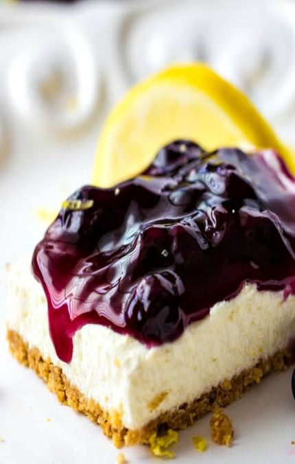 No Bake Lemon Blueberry Cheesecake Bars | Recipe