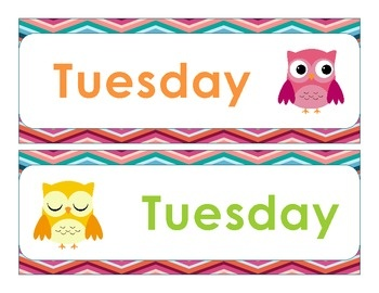 Days of the Week and Months of the Year Signs with Owl Clip Art. Great ...