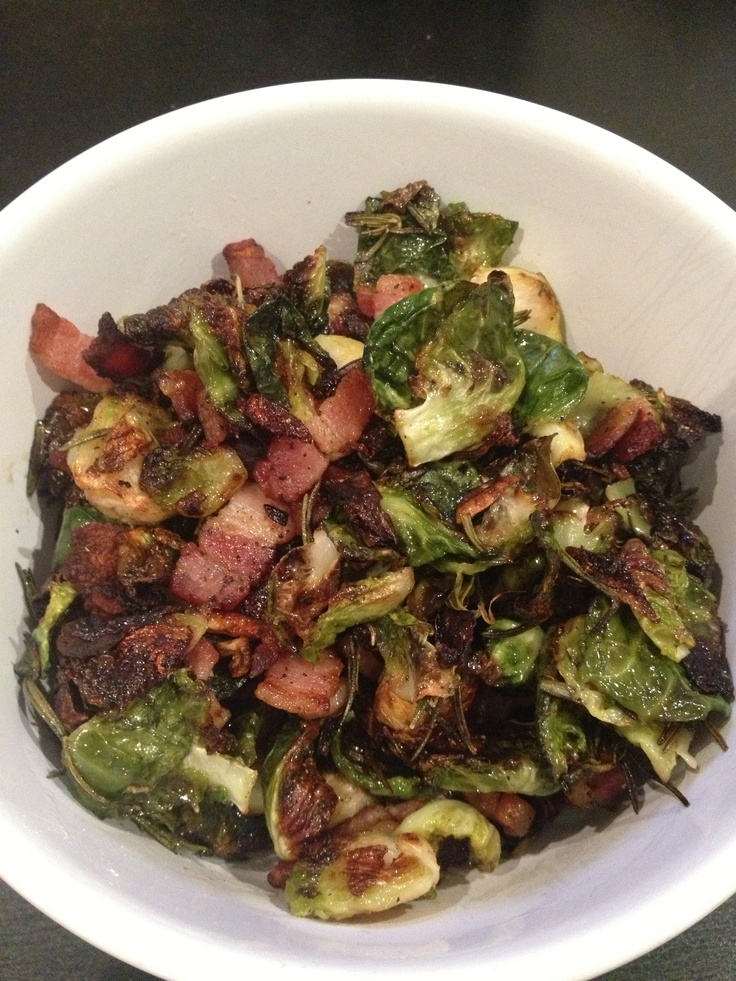 Charred brussel sprouts with bacon, rosemary and garlic