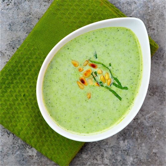 ... green soups for spring. Peas, mint, pine nuts, and greek yogurt here
