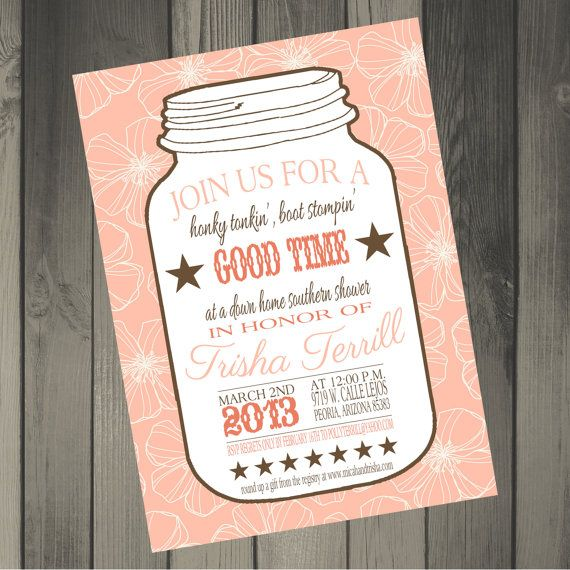 Mason Jar Country Themed Bridal Shower Invitation