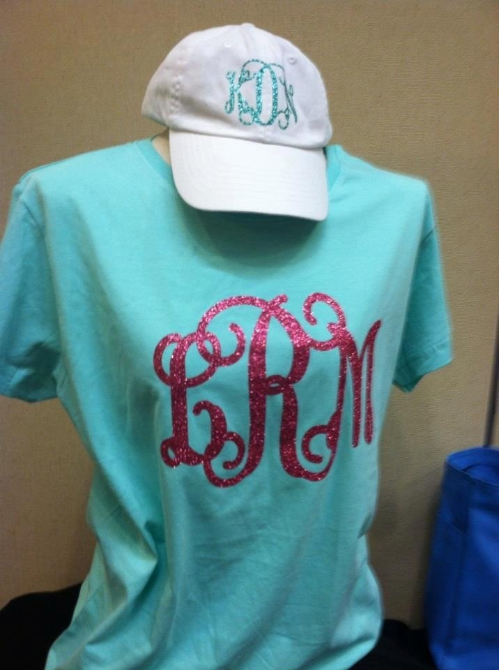 glitter monogrammed t shirts and caps