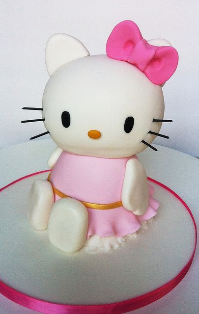 "Hello, Kitty! | Chocolate cake covered in fondant with spaghetti whiskers , about 10"" tall"