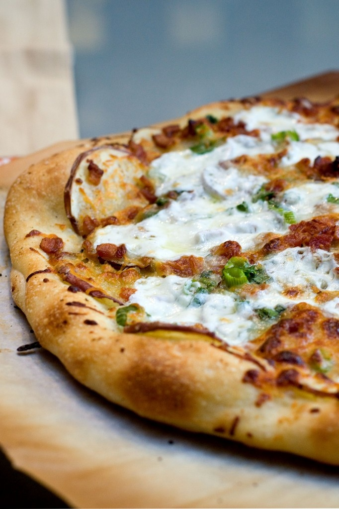 Potato Bacon Pizza -could this be like spicy perogy pizza from BPs??