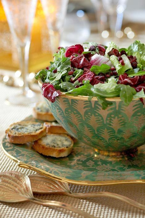 ... Farmhouse Christmas salad w/Gorgonzola croutons + pomegranate seeds