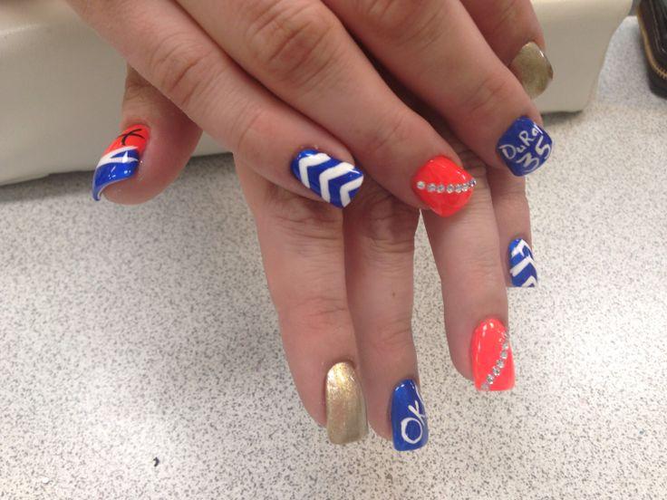OKC Thunder nail design!! | Beauty - Nails | Pinterest