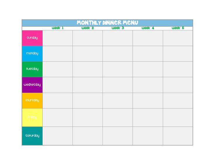 Monthly Meal Planner.pdf | Orgainisation | Pinterest