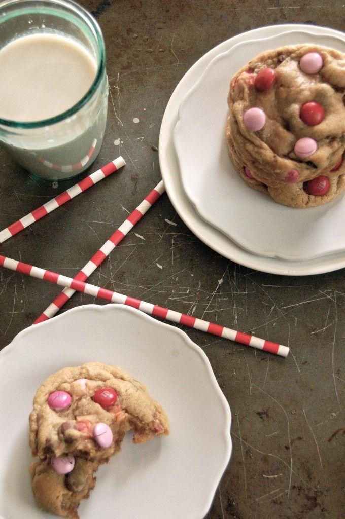 giant pink m amp m raisenette cookies