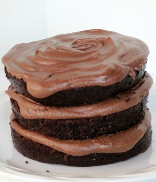 DELICIOUS ... Moist Chocolate Cake and Fudge Buttercream Frosting