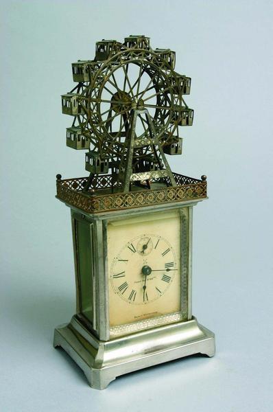 Novelty Ferris wheel carriage clock, made in Württemberg