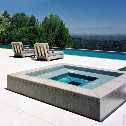 Modern hot tub landscape outdoor pinterest for Swimming pool spa designs
