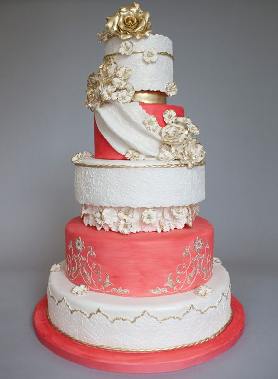 Beautiful Romantic Gold  Coral Wedding Cake