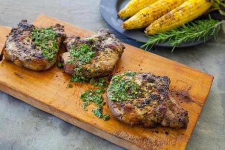 Recipe for grilled pork chops with herb-caper marinade - The Boston G ...