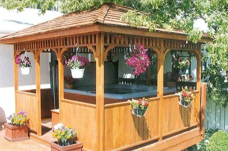 Backyard Gazebo Plans : Square Gazebo with spa is like having a retreat in your own backyard