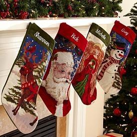 Old fashioned needlepoint christmas stockings for Fashion christmas stockings