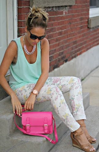 floral pants and mint with #spikethepunch
