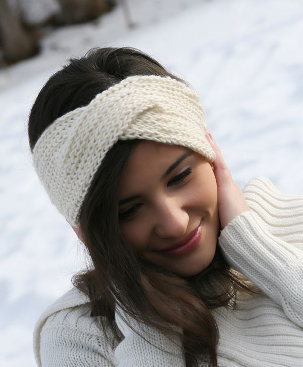 White-Iva-Headband-Powdered-2 Free Loom Knit Patterns & Instruction P...