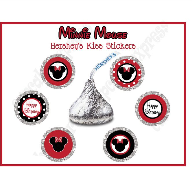 Minnie mouse pink printable hersheys kiss labels stickers for Free hershey kisses labels template