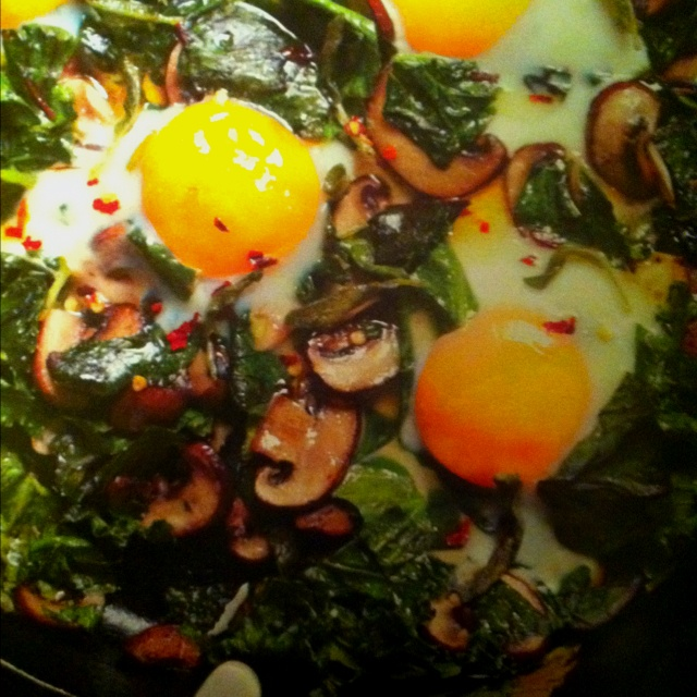 Fried Eggs/greens/mushrooms | Repins | Pinterest