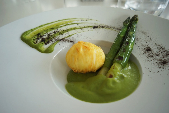 Crispy hen's egg' wrapped in a potato rosti, griddled asparagus with ...