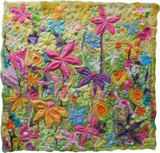 Felt Stitched Flowers Artwork