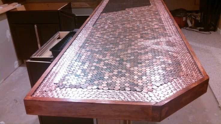 Building a penny top bar epoxy pinterest for Copper penny bar top