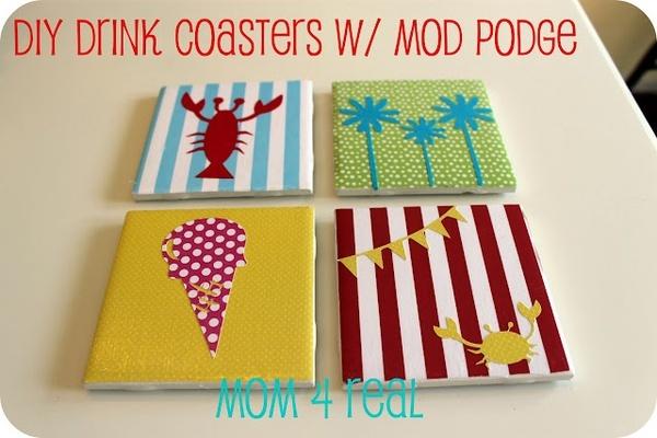 Drink coasters w mod podge diy ideas crafty things for Drink coaster ideas
