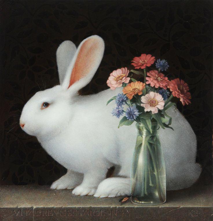 Koo Schadler —  White Rabbit and Zinnias,  2012  (774x747)