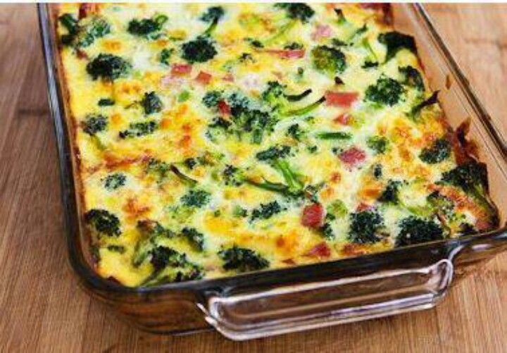 Broccoli, Mushrooms, Ham, And Cheddar Baked With Eggs Recipe ...