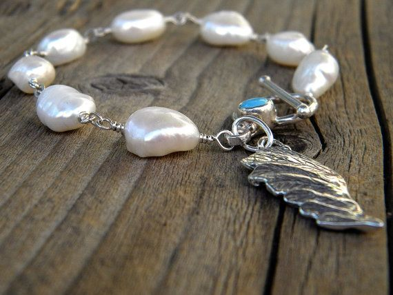 Pearl Bracelet Wire Wrapped Pure Silver Artisan by DeetabyDesign, $60 ...
