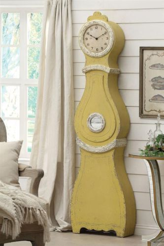 Antique vintage style swedish mora shabby chic yellow cottage floor c