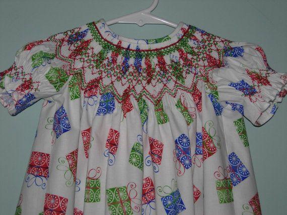 Hand smocked toddler s christmas dress by nancysfancysdesigns 55 00