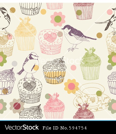 Cupcake Wallpaper Background Birds Vintage And Cupcakes