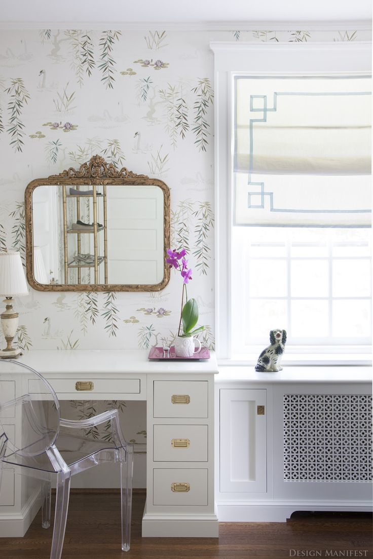 Design Manifest: Project Reveal: Girly Glam Dressing Room, campaign brass pulls on vanity/desk,  ghost chair, vintage gold mirror, floral wallpaper