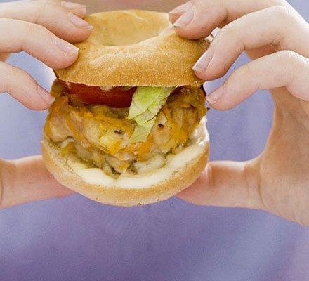 Mini chicken bagel burgers | Recipe