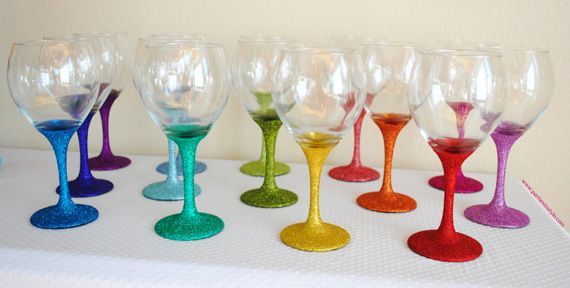 Diy glitter wine glasses rainbow inspiration pinterest How to make wine glasses sparkle