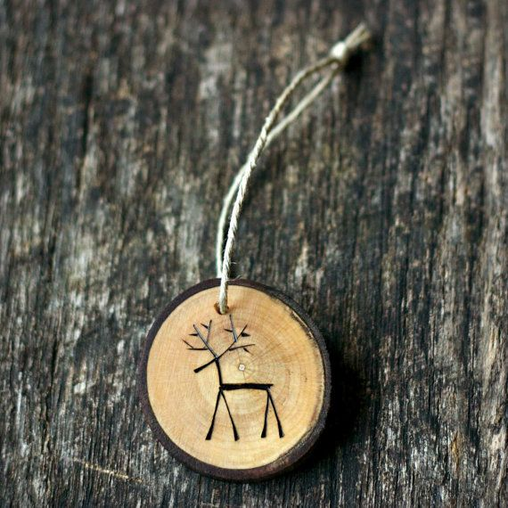 Reindeer christmas ornament tree branch wood slice rustic and eco